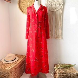 Vintage style Porary red floral shirt maxi dress